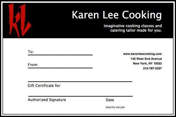 Karen Lee Cooking  Cooking Certificate Template