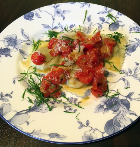 Ravioli with Grape Tomatoes Topping © Karen Lee 2016